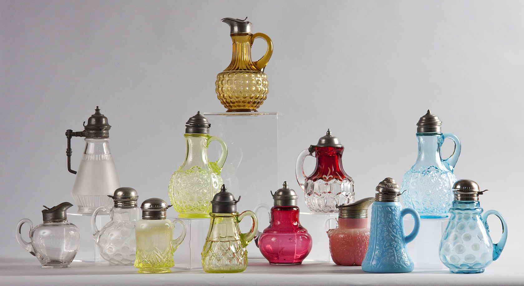 Pressed Glass Syrup Jars